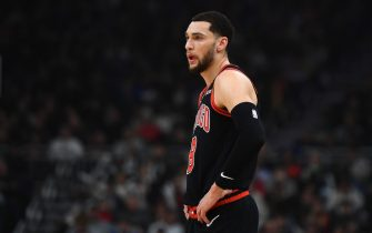 MILWAUKEE, WISCONSIN - JANUARY 20:  Zach LaVine #8 of the Chicago Bulls walks backcourt during a game against the Milwaukee Bucks at Fiserv Forum on January 20, 2020 in Milwaukee, Wisconsin. NOTE TO USER: User expressly acknowledges and agrees that, by downloading and or using this photograph, User is consenting to the terms and conditions of the Getty Images License Agreement. (Photo by Stacy Revere/Getty Images)
