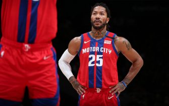 WASHINGTON, DC - JANUARY 20: Derrick Rose #25 of the Detroit Pistons looks on during the game against the Washington Wizards on January 20, 2020 at Capital One Arena in Washington, DC. NOTE TO USER: User expressly acknowledges and agrees that, by downloading and or using this Photograph, user is consenting to the terms and conditions of the Getty Images License Agreement. Mandatory Copyright Notice: Copyright 2020 NBAE (Photo by Ned Dishman/NBAE via Getty Images)