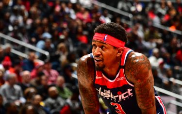 ATLANTA, GA - JANUARY 26: Bradley Beal #3 of the Washington Wizards looks on during a game against the Atlanta Hawks on January 26, 2020 at State Farm Arena in Atlanta, Georgia.  NOTE TO USER: User expressly acknowledges and agrees that, by downloading and/or using this Photograph, user is consenting to the terms and conditions of the Getty Images License Agreement. Mandatory Copyright Notice: Copyright 2020 NBAE (Photo by Scott Cunningham/NBAE via Getty Images)