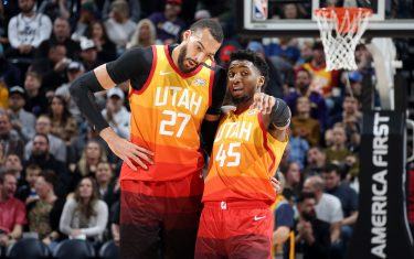SALT LAKE CITY, UT - JANUARY 20: Rudy Gobert #27 and Donovan Mitchell #45 of the Utah Jazz talk during the game against the Indiana Pacers on January 20, 2020 at vivint.SmartHome Arena in Salt Lake City, Utah. NOTE TO USER: User expressly acknowledges and agrees that, by downloading and or using this Photograph, User is consenting to the terms and conditions of the Getty Images License Agreement. Mandatory Copyright Notice: Copyright 2020 NBAE (Photo by Melissa Majchrzak/NBAE via Getty Images)