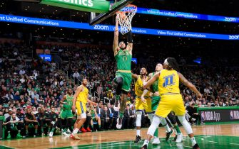 BOSTON, MA - JANUARY 30: Jayson Tatum #0 of the Boston Celtics goes up for a dunk during the game against the Golden State Warriors on January 30, 2020 at the TD Garden in Boston, Massachusetts.  NOTE TO USER: User expressly acknowledges and agrees that, by downloading and or using this photograph, User is consenting to the terms and conditions of the Getty Images License Agreement. Mandatory Copyright Notice: Copyright 2020 NBAE  (Photo by Brian Babineau/NBAE via Getty Images)
