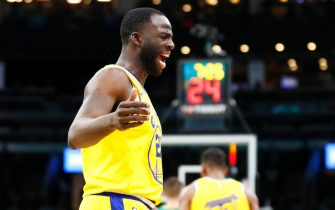 BOSTON, MASSACHUSETTS - JANUARY 30: Draymond Green #23 of the Golden State Warriors reacts to a call during the third quarter of the game against the Boston Celtics at TD Garden on January 30, 2020 in Boston, Massachusetts. NOTE TO USER: User expressly acknowledges and agrees that, by downloading and or using this photograph, User is consenting to the terms and conditions of the Getty Images License Agreement. (Photo by Omar Rawlings/Getty Images)