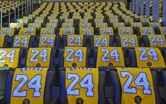LOS ANGELES, CA - JANUARY 31: The Los Angeles Lakers honor Kobe Bryant by laying out t-shirts for fans before the game against the Portland Trail Blazers on January 31, 2020 at STAPLES Center in Los Angeles, California. NOTE TO USER: User expressly acknowledges and agrees that, by downloading and/or using this Photograph, user is consenting to the terms and conditions of the Getty Images License Agreement. Mandatory Copyright Notice: Copyright 2020 NBAE (Photo by Andrew D. Bernstein/NBAE via Getty Images)