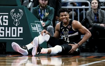 MILWAUKEE, WISCONSIN - JANUARY 31: Giannis Antetokounmpo #34 of the Milwaukee Bucks reacts after falling to the floor in the fourth quarter against the Denver Nuggets at the Fiserv Forum on January 31, 2020 in Milwaukee, Wisconsin. NOTE TO USER: User expressly acknowledges and agrees that, by downloading and or using this photograph, User is consenting to the terms and conditions of the Getty Images License Agreement. (Photo by Dylan Buell/Getty Images)