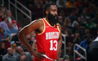 HOUSTON, TX - JANUARY 31 :  James Harden #13 of the Houston Rockets looks on during the game against the Dallas Mavericks on January 31, 2020 at the Toyota Center in Houston, Texas. NOTE TO USER: User expressly acknowledges and agrees that, by downloading and or using this photograph, User is consenting to the terms and conditions of the Getty Images License Agreement. Mandatory Copyright Notice: Copyright 2020 NBAE (Photo by Bill Baptist/NBAE via Getty Images)