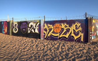 RESTRICTED TO EDITORIAL USE - OXNARD CA - JANUARY 28: Murals about Kobe Bryant are being painted in memory of the basket ball legend, in the last few days two murals have appeared painted by local volunteers January 28 2020, Silver Strand Beach, Oxnard, California (Photo by Paul Harris/Getty Images)