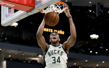 MILWAUKEE, WISCONSIN - FEBRUARY 02: Giannis Antetokounmpo #34 of the Milwaukee Bucks dunks the ball in the third quarter against the Phoenix Suns at the Fiserv Forum on February 02, 2020 in Milwaukee, Wisconsin. NOTE TO USER: User expressly acknowledges and agrees that, by downloading and or using this photograph, User is consenting to the terms and conditions of the Getty Images License Agreement. (Photo by Dylan Buell/Getty Images)