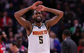 DETROIT, MI - FEBRUARY 2: Will Barton #5 of the Denver Nuggets reacts after missing a shot late in the fourth quarter of the game against the Detroit Pistons at Little Caesars Arena on February 2, 2020 in Detroit, Michigan. Detroit defeated Denver 128-123. Detroit defeated  Denver 128-123. NOTE TO USER: User expressly acknowledges and agrees that, by downloading and or using this photograph, User is consenting to the terms and conditions of the Getty Images License Agreement (Photo by Leon Halip/Getty Images)