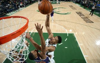 MILWAUKEE, WI - FEBRUARY 2: Giannis Antetokounmpo #34 of the Milwaukee Bucks drives to the basket during a game against the Phoenix Suns on February 2, 2020 at the Fiserv Forum Center in Milwaukee, Wisconsin. NOTE TO USER: User expressly acknowledges and agrees that, by downloading and or using this Photograph, user is consenting to the terms and conditions of the Getty Images License Agreement. Mandatory Copyright Notice: Copyright 2020 NBAE (Photo by Gary Dineen/NBAE via Getty Images).