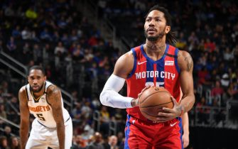 DETROIT, MI - FEBRUARY 2: Derrick Rose #25 of the Detroit Pistons shoots a free throw during the game against the Denver Nuggets on February 2, 2020 at Little Caesars Arena in Detroit, Michigan. NOTE TO USER: User expressly acknowledges and agrees that, by downloading and/or using this photograph, User is consenting to the terms and conditions of the Getty Images License Agreement. Mandatory Copyright Notice: Copyright 2020 NBAE (Photo by Chris Schwegler/NBAE via Getty Images)