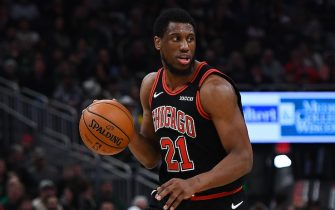 MILWAUKEE, WISCONSIN - JANUARY 20:  Thaddeus Young #21 of the Chicago Bulls handles the ball during a game against the Milwaukee Bucks at Fiserv Forum on January 20, 2020 in Milwaukee, Wisconsin. NOTE TO USER: User expressly acknowledges and agrees that, by downloading and or using this photograph, User is consenting to the terms and conditions of the Getty Images License Agreement. (Photo by Stacy Revere/Getty Images)