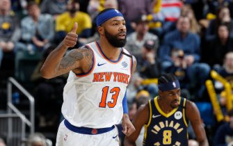 INDIANAPOLIS, IN - FEBRUARY 01: Marcus Morris Sr. #13 of the New York Knicks reacts after making a basket in the second half of a game against the Indiana Pacers at Bankers Life Fieldhouse on February 1, 2020 in Indianapolis, Indiana. The Knicks defeated the Pacers 92-85. NOTE TO USER: User expressly acknowledges and agrees that, by downloading and or using this Photograph, user is consenting to the terms and conditions of the Getty Images License Agreement. (Photo by Joe Robbins/Getty Images)