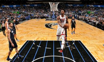 ORLANDO, FL - FEBRUARY 1: Jimmy Butler #22 of the Miami Heat drives to the basket during a game against the Orlando Magic on February 1, 2020 at Amway Center in Orlando, Florida. NOTE TO USER: User expressly acknowledges and agrees that, by downloading and or using this photograph, User is consenting to the terms and conditions of the Getty Images License Agreement. Mandatory Copyright Notice: Copyright 2020 NBAE (Photo by Fernando Medina/NBAE via Getty Images)