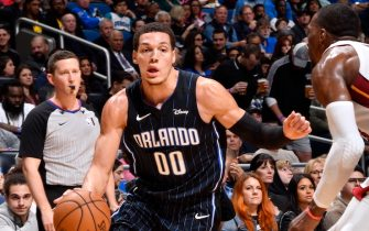 ORLANDO, FL - FEBRUARY 1: Aaron Gordon #00 of the Orlando Magic handles the ball during a game against the Miami Heat on February 1, 2020 at Amway Center in Orlando, Florida. NOTE TO USER: User expressly acknowledges and agrees that, by downloading and or using this photograph, User is consenting to the terms and conditions of the Getty Images License Agreement. Mandatory Copyright Notice: Copyright 2020 NBAE (Photo by Fernando Medina/NBAE via Getty Images)