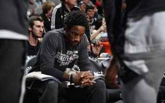 SAN ANTONIO, TX - FEBRUARY 1: DeMar DeRozan #10 of the San Antonio Spurs prepares for a game against the Charlotte Hornets on February 1, 2020 at the AT&T Center in San Antonio, Texas. NOTE TO USER: User expressly acknowledges and agrees that, by downloading and or using this photograph, user is consenting to the terms and conditions of the Getty Images License Agreement. Mandatory Copyright Notice: Copyright 2020 NBAE (Photos by Logan Riely/NBAE via Getty Images)