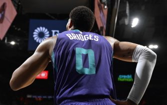 SAN ANTONIO, TX - FEBRUARY 1: Miles Bridges #0 of the Charlotte Hornets looks on during the game against the San Antonio Spurs on February 1, 2020 at the AT&T Center in San Antonio, Texas. NOTE TO USER: User expressly acknowledges and agrees that, by downloading and or using this photograph, user is consenting to the terms and conditions of the Getty Images License Agreement. Mandatory Copyright Notice: Copyright 2020 NBAE (Photos by Logan Riely/NBAE via Getty Images)