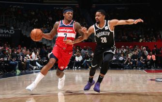 WASHINGTON, DC - FEBRUARY 1: Bradley Beal #3 of the Washington Wizards drives to the basket against the Brooklyn Nets on February 1, 2020 at Capital One Arena in Washington, DC. NOTE TO USER: User expressly acknowledges and agrees that, by downloading and or using this Photograph, user is consenting to the terms and conditions of the Getty Images License Agreement. Mandatory Copyright Notice: Copyright 2020 NBAE (Photo by Stephen Gosling/NBAE via Getty Images)