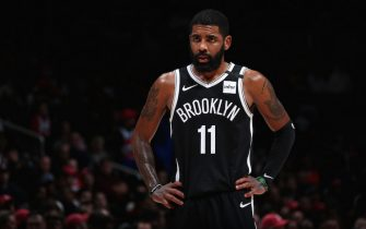 WASHINGTON, DC - FEBRUARY 1: Kyrie Irving #11 of the Brooklyn Nets looks on during the game against the Washington Wizards on February 1, 2020 at Capital One Arena in Washington, DC. NOTE TO USER: User expressly acknowledges and agrees that, by downloading and or using this Photograph, user is consenting to the terms and conditions of the Getty Images License Agreement. Mandatory Copyright Notice: Copyright 2020 NBAE (Photo by Ned Dishman/NBAE via Getty Images)