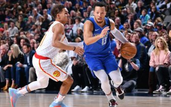 DALLAS, TX - FEBRUARY 1: Jalen Brunson #13 of the Dallas Mavericks handles the ball during the game against the Atlanta Hawks on February 1, 2020 at the American Airlines Center in Dallas, Texas. NOTE TO USER: User expressly acknowledges and agrees that, by downloading and or using this photograph, User is consenting to the terms and conditions of the Getty Images License Agreement. Mandatory Copyright Notice: Copyright 2020 NBAE (Photo by Glenn James/NBAE via Getty Images)