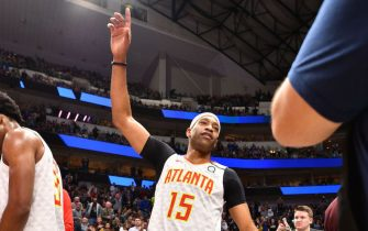 DALLAS, TX - FEBRUARY 1: Vince Carter #15 of the Atlanta Hawks is announced before the game against the Dallas Mavericks on February 1, 2020 at the American Airlines Center in Dallas, Texas. NOTE TO USER: User expressly acknowledges and agrees that, by downloading and or using this photograph, User is consenting to the terms and conditions of the Getty Images License Agreement. Mandatory Copyright Notice: Copyright 2020 NBAE (Photo by Glenn James/NBAE via Getty Images)