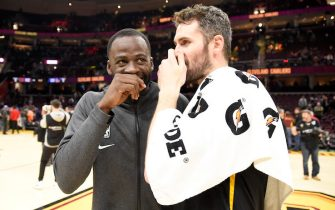 CLEVELAND, OHIO - FEBRUARY 01: Draymond Green #23 of the Golden State Warriors talks with Kevin Love #0 of the Cleveland Cavaliers after the game at Rocket Mortgage Fieldhouse on February 01, 2020 in Cleveland, Ohio. The Warriors defeated the Cavaliers 131-112. NOTE TO USER: User expressly acknowledges and agrees that, by downloading and/or using this photograph, user is consenting to the terms and conditions of the Getty Images License Agreement. (Photo by Jason Miller/Getty Images)