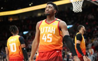 PORTLAND, OREGON - FEBRUARY 01: Donovan Mitchell #45 of the Utah Jazz reacts in the fourth quarter against the Portland Trail Blazers during their game at Moda Center on February 01, 2020 in Portland, Oregon. NOTE TO USER: User expressly acknowledges and agrees that, by downloading and or using this photograph, User is consenting to the terms and conditions of the Getty Images License Agreement. (Photo by Abbie Parr/Getty Images)