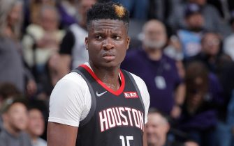 SACRAMENTO, CA - DECEMBER 23: Clint Capela #15 of the Houston Rockets looks on during the game against the Sacramento Kings on December 23, 2019 at Golden 1 Center in Sacramento, California. NOTE TO USER: User expressly acknowledges and agrees that, by downloading and or using this photograph, User is consenting to the terms and conditions of the Getty Images Agreement. Mandatory Copyright Notice: Copyright 2019 NBAE (Photo by Rocky Widner/NBAE via Getty Images)