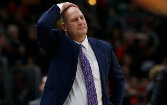 CHICAGO, ILLINOIS - JANUARY 04:  Head coach Jim Boylen of the Chicago Bulls reacts late in the second half against the Boston Celtics at United Center on January 04, 2020 in Chicago, Illinois. NOTE TO USER: User expressly acknowledges and agrees that, by downloading and or using this photograph, User is consenting to the terms and conditions of the Getty Images License Agreement. (Photo by Nuccio DiNuzzo/Getty Images)