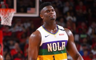 HOUSTON, TX - FEBRUARY 2 : Zion Williamson #1 of the New Orleans Pelicans looks on during the game against the Houston Rockets on February 2, 2020 at the Toyota Center in Houston, Texas. NOTE TO USER: User expressly acknowledges and agrees that, by downloading and or using this photograph, User is consenting to the terms and conditions of the Getty Images License Agreement. Mandatory Copyright Notice: Copyright 2020 NBAE (Photo by Bill Baptist/NBAE via Getty Images)