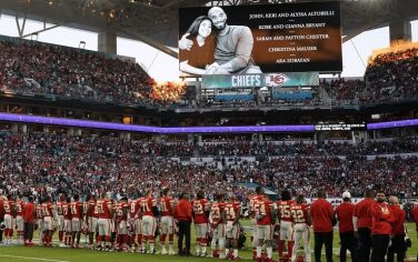 A tribute to late NBA legend Kobe Bryant, his daughter Gianna and the seven others who died along with them in a helicopter crash is shown on a screen during Super Bowl LIV between the Kansas City Chiefs and the San Francisco 49ers at Hard Rock Stadium in Miami Gardens, Florida, on February 2, 2020. (Photo by TIMOTHY A. CLARY / AFP) (Photo by TIMOTHY A. CLARY/AFP via Getty Images)