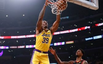 LOS ANGELES, CA - JANUARY 13: Dwight Howard #39 of the Los Angeles Lakers dunks the ball during the game against the Cleveland Cavaliers on January 13, 2020 at STAPLES Center in Los Angeles, California. NOTE TO USER: User expressly acknowledges and agrees that, by downloading and/or using this Photograph, user is consenting to the terms and conditions of the Getty Images License Agreement. Mandatory Copyright Notice: Copyright 2020 NBAE (Photo by Chris Elise/NBAE via Getty Images)