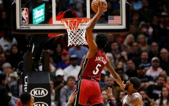 MIAMI, FLORIDA - JANUARY 05:  Derrick Jones Jr. #5 of the Miami Heat dunks against the Portland Trail Blazers during the first half at American Airlines Arena on January 05, 2020 in Miami, Florida. NOTE TO USER: User expressly acknowledges and agrees that, by downloading and/or using this photograph, user is consenting to the terms and conditions of the Getty Images License Agreement. (Photo by Michael Reaves/Getty Images)
