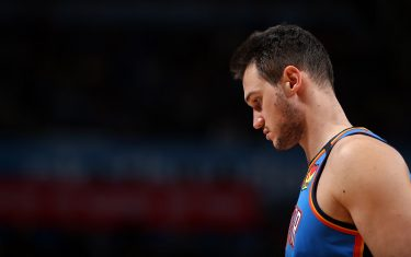 OKLAHOMA CITY, OK - JANUARY 24: Danilo Gallinari #8 of the Oklahoma City Thunder looks on during the game against the Atlanta Hawks on January 24, 2020 at Chesapeake Energy Arena in Oklahoma City, Oklahoma. NOTE TO USER: User expressly acknowledges and agrees that, by downloading and or using this photograph, User is consenting to the terms and conditions of the Getty Images License Agreement. Mandatory Copyright Notice: Copyright 2020 NBAE (Photo by Zach Beeker/NBAE via Getty Images)