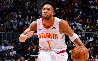 ATLANTA, GA - DECEMBER 19: Evan Turner #1 of the Atlanta Hawks handles the ball against the Utah Jazz on December 19, 2019 at State Farm Arena in Atlanta, Georgia.  NOTE TO USER: User expressly acknowledges and agrees that, by downloading and/or using this Photograph, user is consenting to the terms and conditions of the Getty Images License Agreement. Mandatory Copyright Notice: Copyright 2019 NBAE (Photo by Scott Cunningham/NBAE via Getty Images)