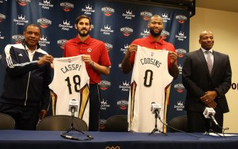 NEW ORLEANS, LA - FEBRUARY 22:  Alvin Gentry, Omri Casspi #18 and DeMarcus Cousins #0 of the New Orleans Pelicans pose for a photo during a press conference on February 22, 2017 at the Smoothie King Center in New Orleans, Louisiana. NOTE TO USER: User expressly acknowledges and agrees that, by downloading and or using this Photograph, user is consenting to the terms and conditions of the Getty Images License Agreement. Mandatory Copyright Notice: Copyright 2017 NBAE (Photo by Layne Murdoch/NBAE via Getty Images)