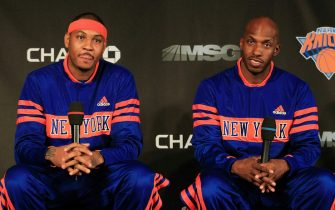 NEW YORK, NY - FEBRUARY 23:  New York Knicks new players (L) Carmelo Anthony and (R) Chauncy Billups are introduced to the media at a press conference at Madison Square Garden on February 23, 2011 in New York City. NOTE TO USER: User expressly acknowledges and agrees that, by downloading and/or using this Photograph, User is consenting to the terms and conditions of the Getty Images License Agreement.  (Photo by Chris Trotman/Getty Images)