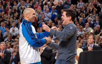 DALLAS, TX - JANUARY 25:  Jason Kidd of the Dallas Mavericks celebrates with team owner Mark Cuban as the Mavericks received their 2010-2011 NBA Championship rings prior to  during the game against the Dallas Mavericks and the Minnesota Timberwolves on January 25, 2012 at American Airlines Center in Dallas, Texas.  NOTE TO USER: User expressly acknowledges and agrees that, by downloading and or using this photograph, User is consenting to the terms and conditions of the Getty Images License Agreement. Mandatory Copyright Notice: Copyright 2012 NBAE  (Photo by Nathaniel S. Butler/NBAE via Getty Images)