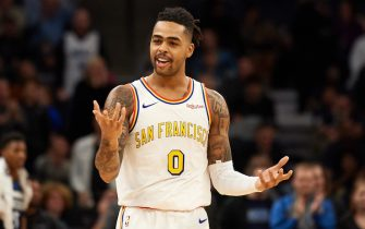 MINNEAPOLIS, MINNESOTA - NOVEMBER 08: D'Angelo Russell #0 of the Golden State Warriors looks on during the game against the Minnesota Timberwolves at Target Center on November 8, 2019 in Minneapolis, Minnesota. NOTE TO USER: User expressly acknowledges and agrees that, by downloading and or using this Photograph, user is consenting to the terms and conditions of the Getty Images License Agreement (Photo by Hannah Foslien/Getty Images)