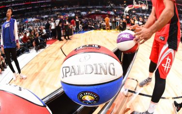 LOS ANGELES, CA - FEBRUARY 17:  a general view of the ball during the JBL Three-Point Contest during State Farm All-Star Saturday Night as part of the 2018 NBA All-Star Weekend on February 17, 2018 at STAPLES Center in Los Angeles, California. NOTE TO USER: User expressly acknowledges and agrees that, by downloading and/or using this photograph, user is consenting to the terms and conditions of the Getty Images License Agreement.  Mandatory Copyright Notice: Copyright 2017 NBAE (Photo by Andrew D. Bernstein/NBAE via Getty Images)