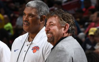 LAS VEAGS, NV - JULY 10: Steve Mills and James Dolan of the New York Knicks are seen before the game against the Los Angeles Lakers during the 2018 Las Vegas Summer League on July 10, 2018 at the Thomas & Mack Center in Las Vegas, Nevada. NOTE TO USER: User expressly acknowledges and agrees that, by downloading and/or using this Photograph, user is consenting to the terms and conditions of the Getty Images License Agreement. Mandatory Copyright Notice: Copyright 2018 NBAE (Photo by Garrett Ellwood/NBAE via Getty Images)