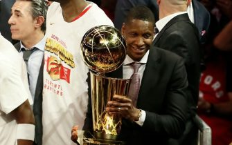 OAKLAND, CA - JUNE 13: President of Basketball Operations Masai Ujiri holds the Larry O'Brien Championship Trophy after Game Six of the NBA Finals against the Golden State Warriors on June 13, 2019 at ORACLE Arena in Oakland, California. NOTE TO USER: User expressly acknowledges and agrees that, by downloading and/or using this photograph, user is consenting to the terms and conditions of Getty Images License Agreement. Mandatory Copyright Notice: Copyright 2019 NBAE (Photo by Chris Elise/NBAE via Getty Images)