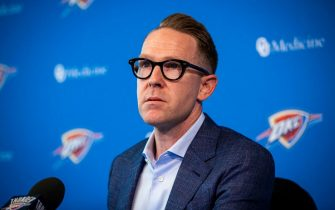 OKLAHOMA CITY, OK - JULY 25: Oklahoma City Thunder General Manager Sam Presti speaks with media at the Thunder ION on July 25, 2019 in Oklahoma City, OK. NOTE TO USER: User expressly acknowledges and agrees that, by downloading and or using this photograph, User is consenting to the terms and conditions of the Getty Images License Agreement. Mandatory Copyright Notice: Copyright 2019 NBAE (Photo by Zach Beeker/NBAE via Getty Images)