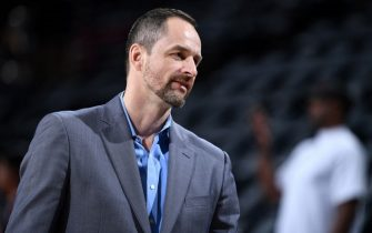 PORTLAND, OR - MAY 9: General Manager Arturas Karnisovas of the Denver Nuggets looks on before Game Six of the Western Conference Semifinals against the Portland Trail Blazers during the 2019 NBA Playoffs on May 9, 2019 at the Moda Center in Portland, Oregon. NOTE TO USER: User expressly acknowledges and agrees that, by downloading and/or using this photograph, user is consenting to the terms and conditions of the Getty Images License Agreement. Mandatory Copyright Notice: Copyright 2019 NBAE (Photo by Garrett Ellwood/NBAE via Getty Images)