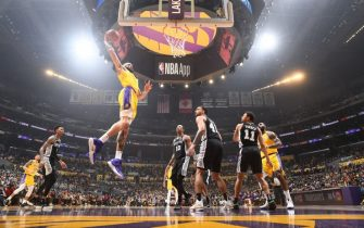 LOS ANGELES, CA - FEBRUARY 4: JaVale McGee #7 of the Los Angeles Lakers dunks the ball against the San Antonio Spurs on February 04, 2020 at STAPLES Center in Los Angeles, California. NOTE TO USER: User expressly acknowledges and agrees that, by downloading and/or using this Photograph, user is consenting to the terms and conditions of the Getty Images License Agreement. Mandatory Copyright Notice: Copyright 2020 NBAE (Photo by Andrew D. Bernstein/NBAE via Getty Images)