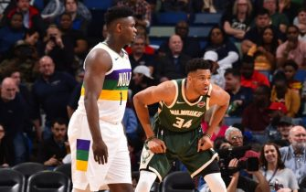 NEW ORLEANS, LA - FEBRUARY 4: Giannis Antetokounmpo #34 of the Milwaukee Bucks plays defense against Zion Williamson #1 of the New Orleans Pelicans on February 4, 2020 at the Smoothie King Center in New Orleans, Louisiana. NOTE TO USER: User expressly acknowledges and agrees that, by downloading and or using this Photograph, user is consenting to the terms and conditions of the Getty Images License Agreement. Mandatory Copyright Notice: Copyright 2020 NBAE (Photo by Jesse D. Garrabrant/NBAE via Getty Images)