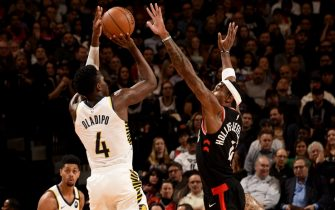 TORONTO, CANADA - FEBRUARY 5:Victor Oladipo #4 of the Indiana Pacers shoots the ball during a game against the Toronto Raptors  on February 5, 2020 at the Scotiabank Arena in Toronto, Ontario, Canada.  NOTE TO USER: User expressly acknowledges and agrees that, by downloading and or using this Photograph, user is consenting to the terms and conditions of the Getty Images License Agreement.  Mandatory Copyright Notice: Copyright 2020 NBAE (Photo by Ron Turenne/NBAE via Getty Images)