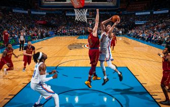 OKLAHOMA CITY, OK - FEBRUARY 5: Danilo Gallinari #8 of the Oklahoma City Thunder shoots the ball against the Cleveland Cavaliers on February 5, 2020 at Chesapeake Energy Arena in Oklahoma City, Oklahoma. NOTE TO USER: User expressly acknowledges and agrees that, by downloading and or using this photograph, User is consenting to the terms and conditions of the Getty Images License Agreement. Mandatory Copyright Notice: Copyright 2020 NBAE (Photo by Zach Beeker/NBAE via Getty Images)