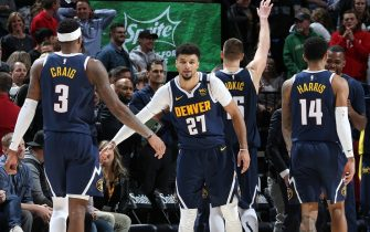 SALT LAKE CITY, UT - FEBRUARY 5: Torrey Craig #3 of the Denver Nuggets high-fives Jamal Murray #27 of the Denver Nuggets against the Utah Jazz on February 5, 2020 at vivint.SmartHome Arena in Salt Lake City, Utah. NOTE TO USER: User expressly acknowledges and agrees that, by downloading and or using this Photograph, User is consenting to the terms and conditions of the Getty Images License Agreement. Mandatory Copyright Notice: Copyright 2020 NBAE (Photo by Melissa Majchrzak/NBAE via Getty Images)
