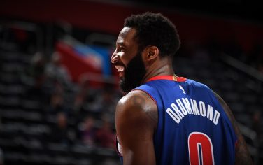 DETROIT, MI - FEBRUARY 5: Andre Drummond #0 of the Detroit Pistons smiles before the game against the Phoenix Suns on February 5, 2020 at Little Caesars Arena in Detroit, Michigan. NOTE TO USER: User expressly acknowledges and agrees that, by downloading and/or using this photograph, User is consenting to the terms and conditions of the Getty Images License Agreement. Mandatory Copyright Notice: Copyright 2020 NBAE (Photo by Chris Schwegler/NBAE via Getty Images)