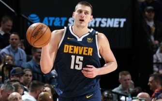 SALT LAKE CITY, UT - FEBRUARY 5: Nikola Jokic #15 of the Denver Nuggets dribbles the ball up court against the Utah Jazz on February 5, 2020 at vivint.SmartHome Arena in Salt Lake City, Utah. NOTE TO USER: User expressly acknowledges and agrees that, by downloading and or using this Photograph, User is consenting to the terms and conditions of the Getty Images License Agreement. Mandatory Copyright Notice: Copyright 2020 NBAE (Photo by Melissa Majchrzak/NBAE via Getty Images)